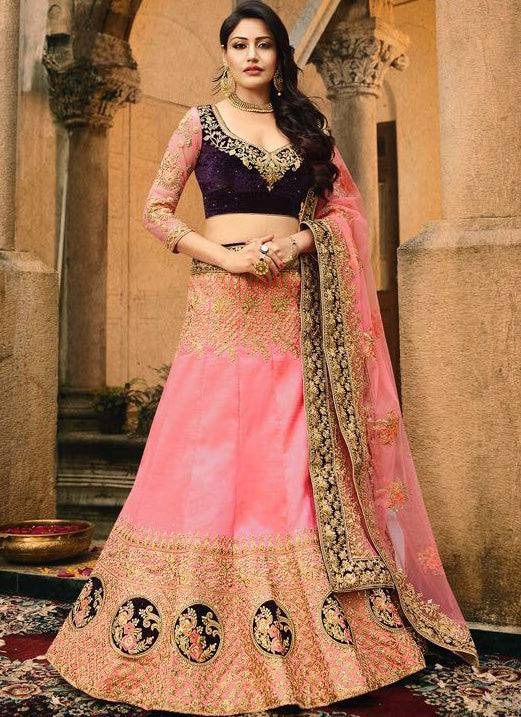 Pink Wedding Lehenga Set-www.riafashions.com