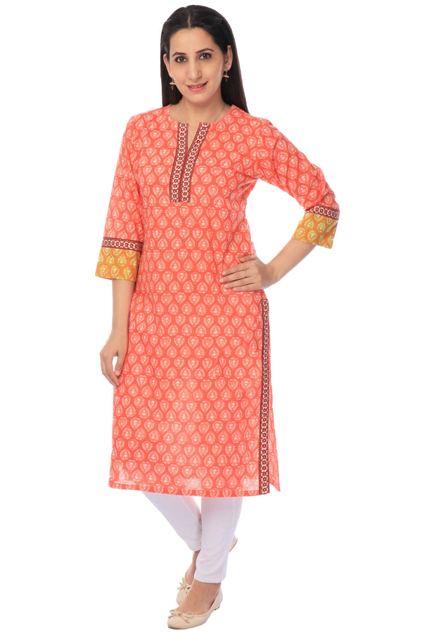 Orange Block Printed Kurta-www.riafashions.com