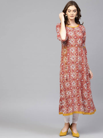 White and Red Printed Cotton Kurti-www.riafashions.com