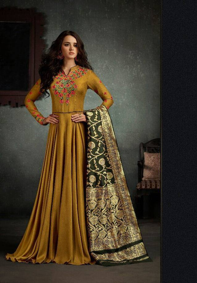 Brown Embroidered Anarkali Suit-www.riafashions.com