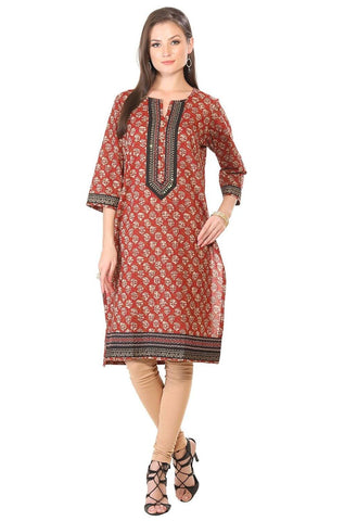 Red Embroidered Cotton Kurti-www.riafashions.com