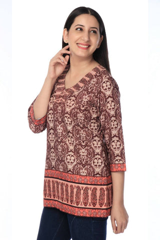 Coffee Printed Crepe Tunic-www.riafashions.com