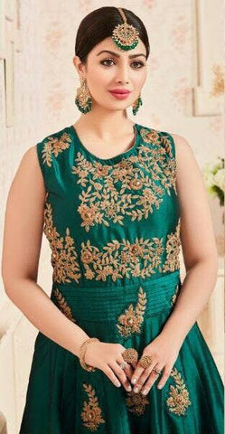 Green Embroidered Silk Set-www.riafashions.com