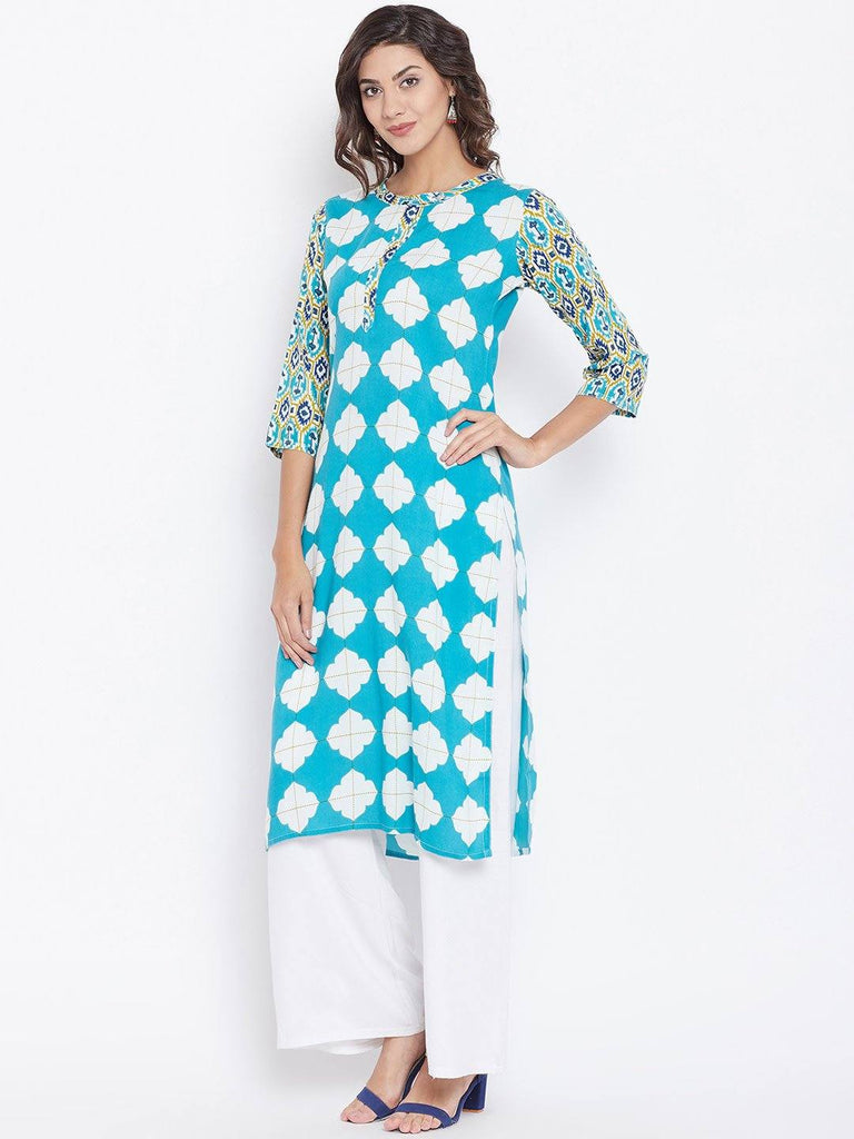 Readymade Geometric Print Straight Kurta