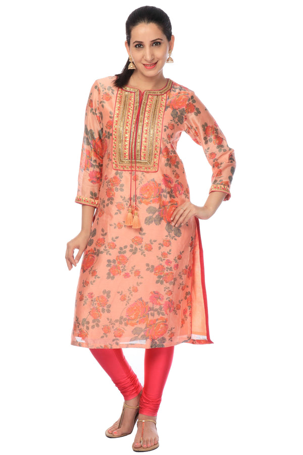 Peach Georgette Silk Embroidered Kurti.-www.riafashions.com