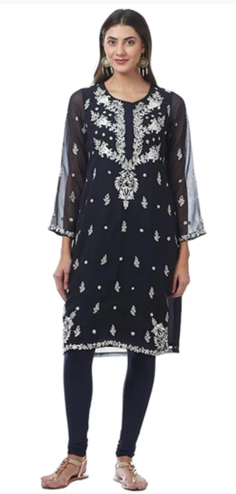 Navy Blue Georgette Kurti/Tunic