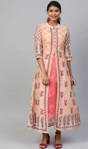 Lovely Pink Colored Cotton Jacket Kurti