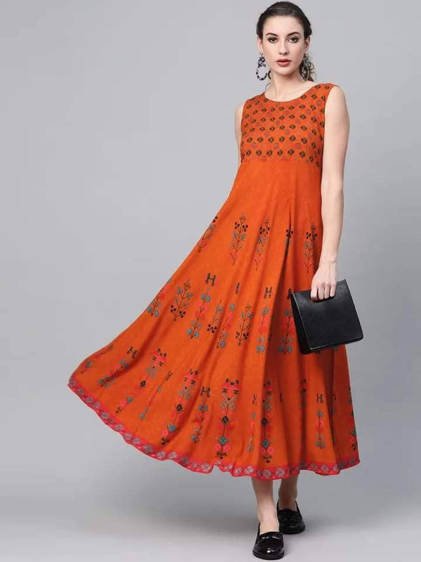Alluring Orange Colored Cotton Kurti