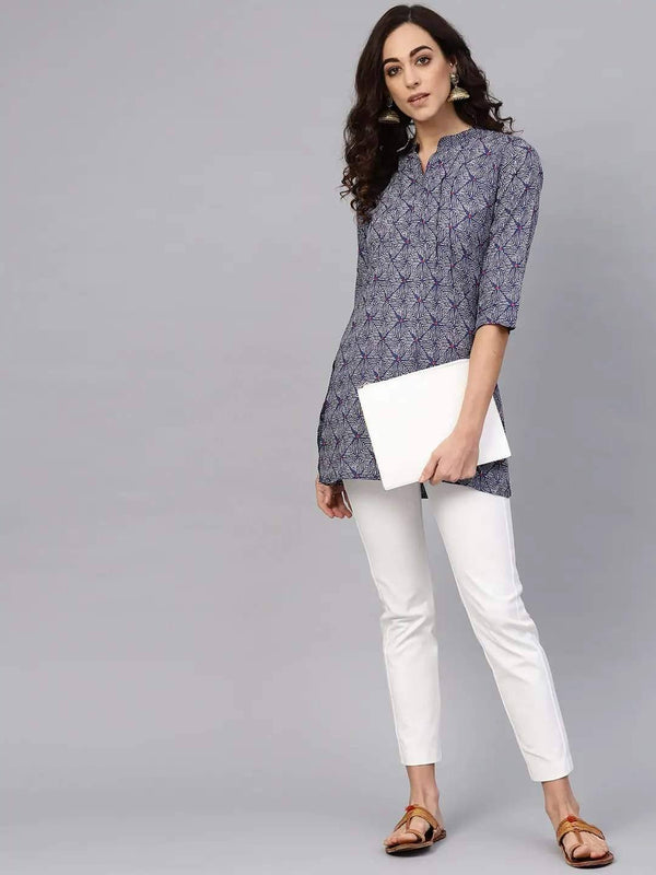 Navy and White Straight Kurti