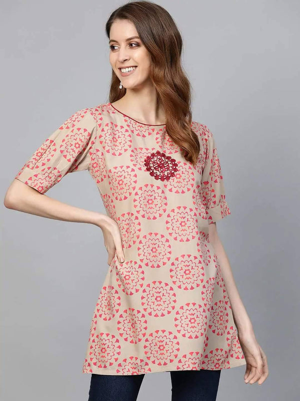 Pink and Beige Printed A-Line Kurti