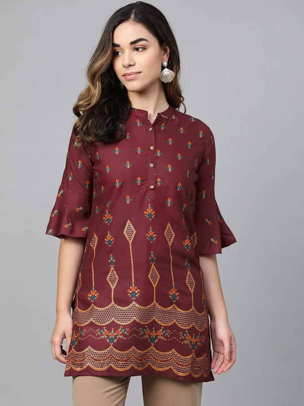 Maroon and Gold Printed Straight Kurti