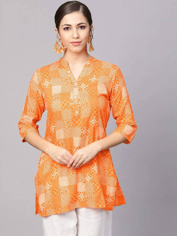 Orange and White Printed Straight Kurti