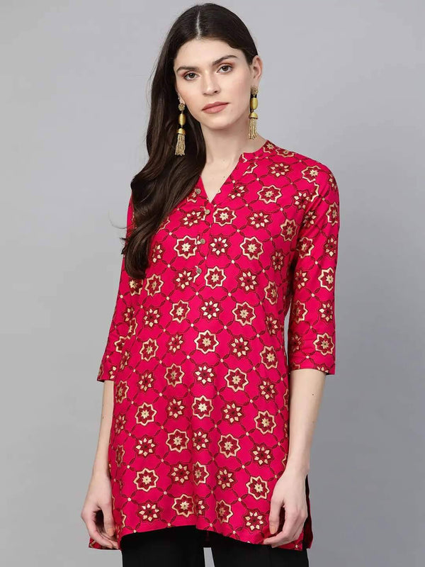 Pink and Gold Printed Straight Kurti