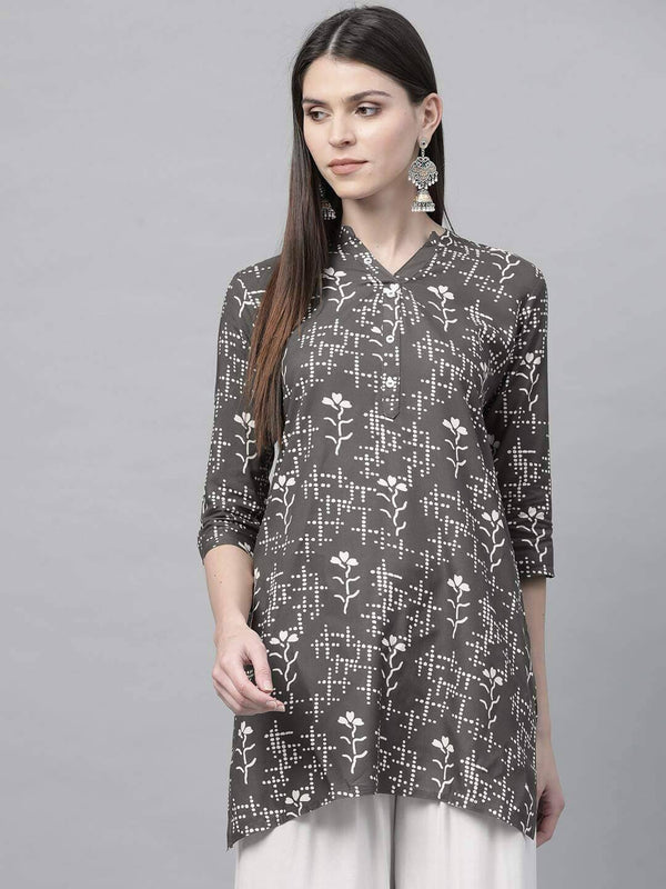 Grey and White Printed Straight Kurti
