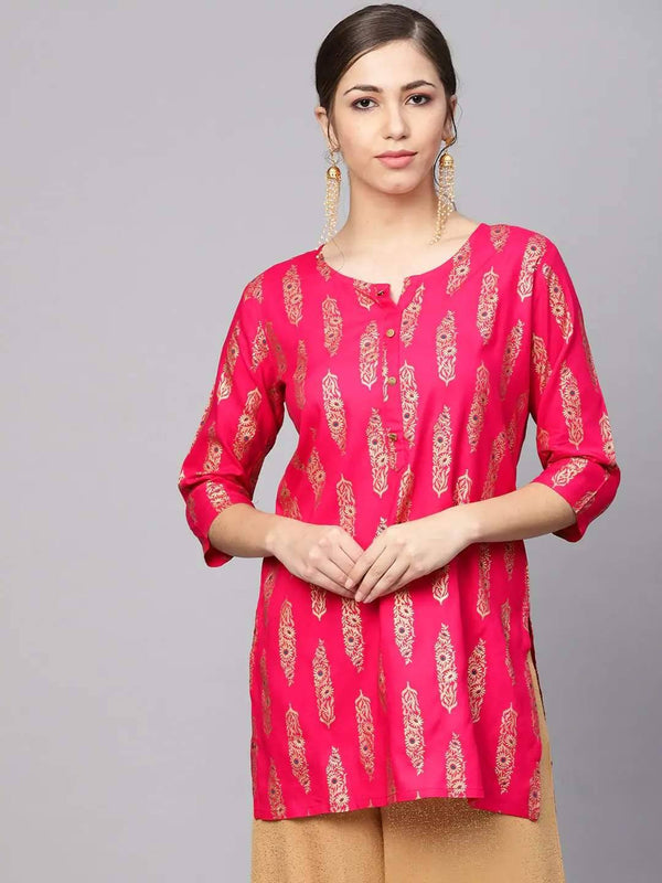 Pink and Golden Printed Straight Kurti