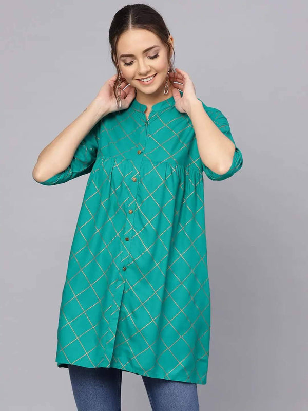 Green and Gold Foil Printed A-Line Kurti