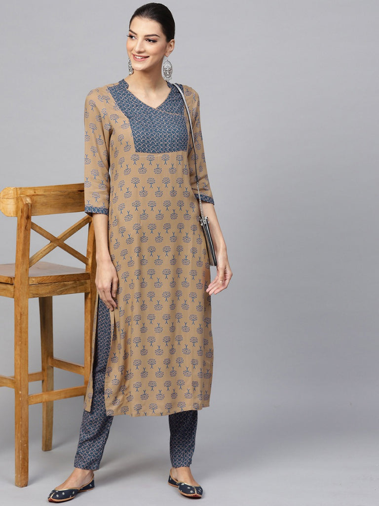 Readymade Brown and Blue Palazzo Kurta Set