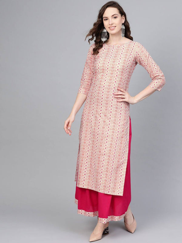 Cream & Pink Printed Straight Make To Order Kurta & Skirt