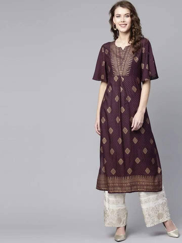 Exquisite Brown Colored Cotton Palazzo