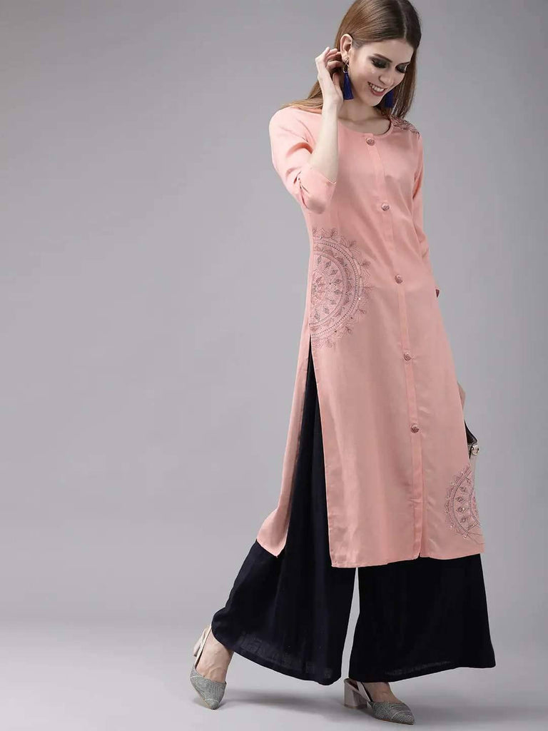 Pink Embroidered Straight Kurta
