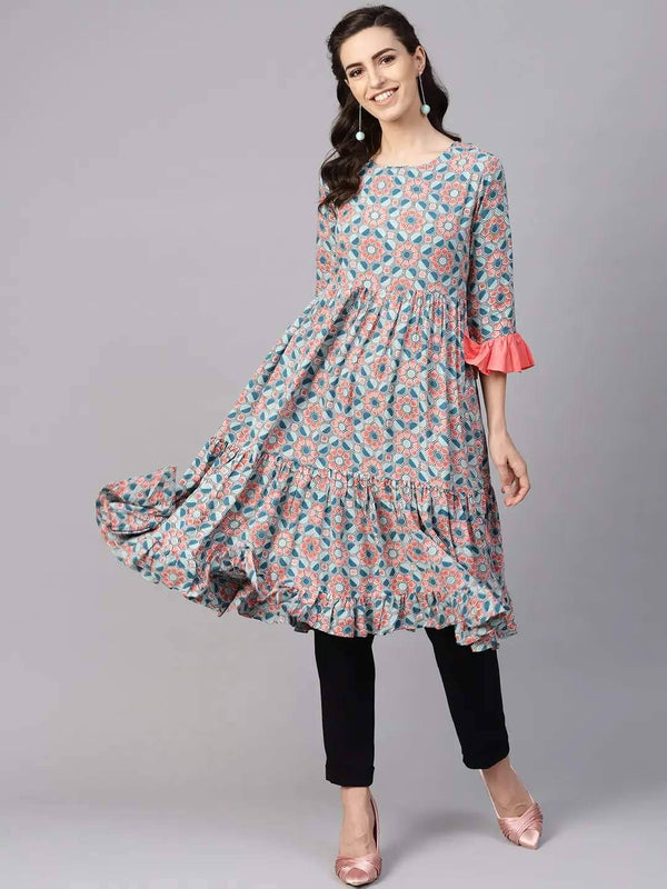 Blue & Coral Pink Printed Tiered A-Line Kurta
