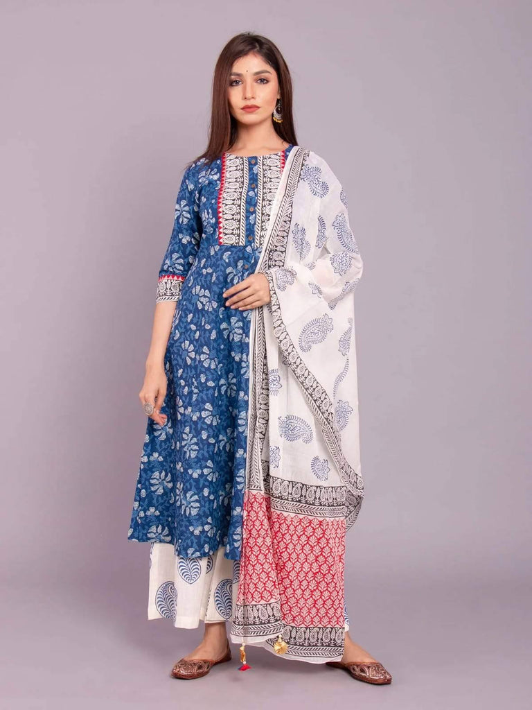Ready Made Blue & White Block Printed Kurta Palazzo Set With Dupatta.