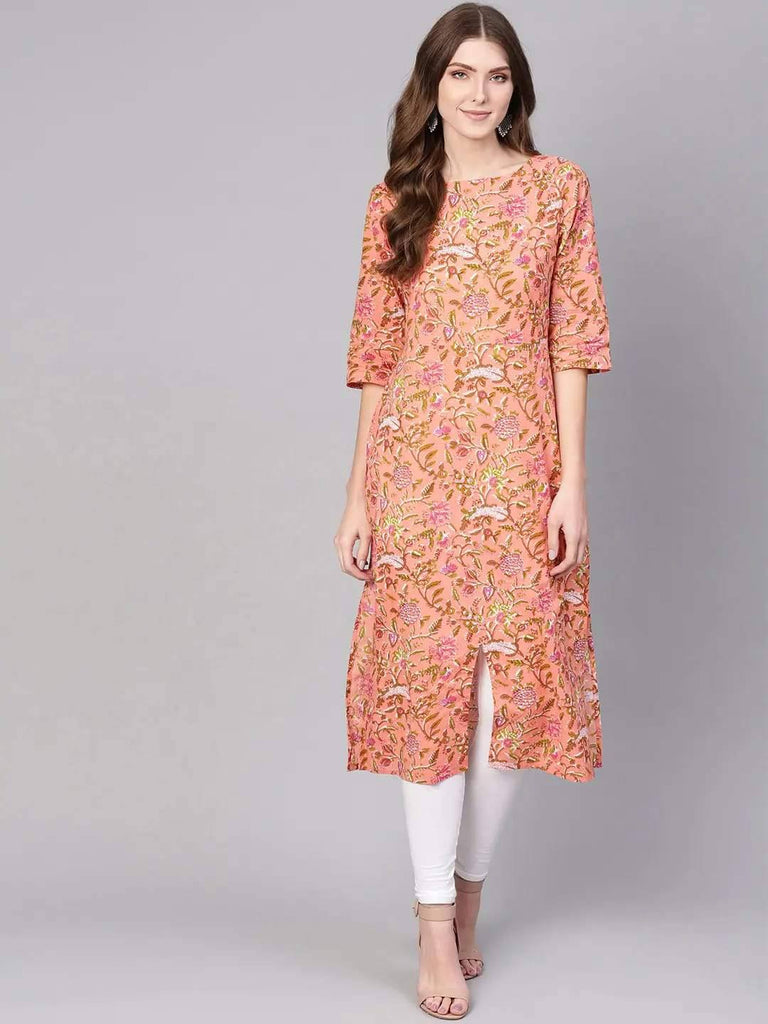 Ready Made Pink Floral Print Kurta