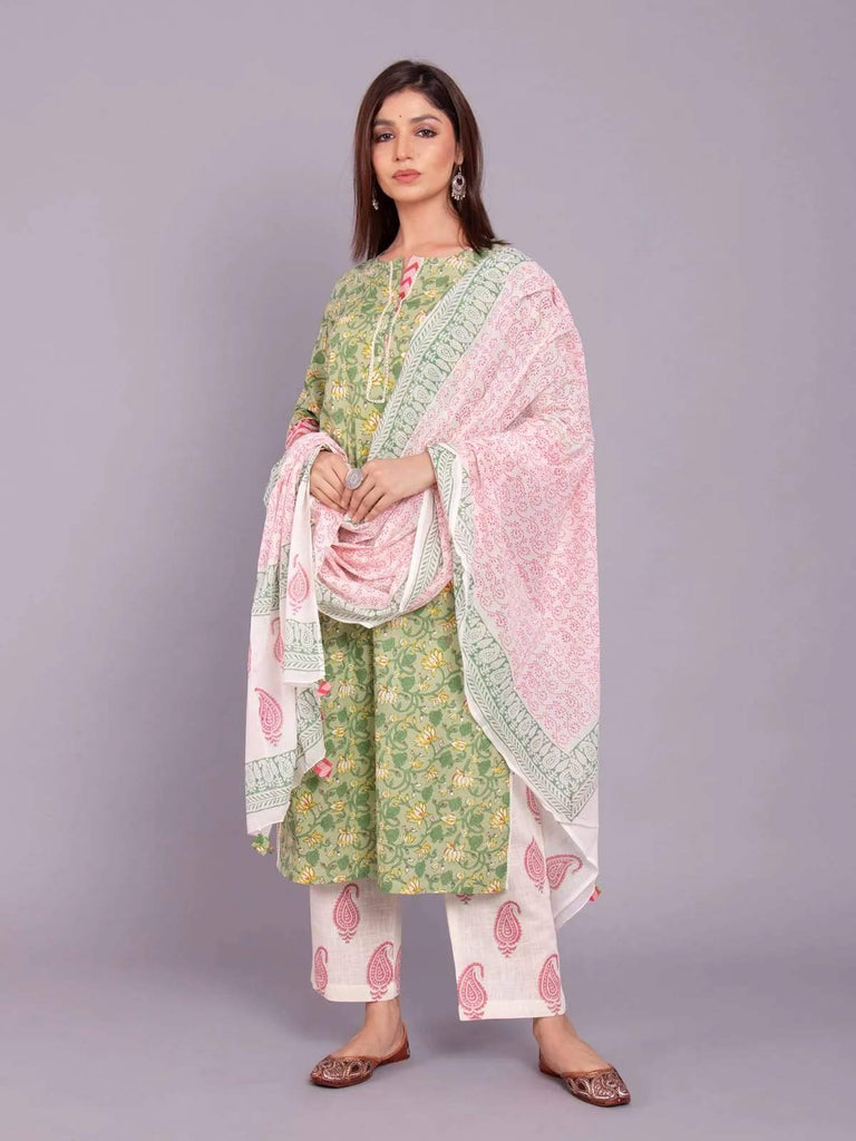 Ready Made Green & White Block Printed Kurta Palazzo Set With Dupatta.