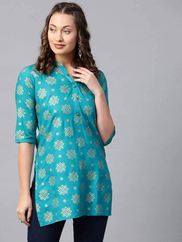Blue and Golden Printed Straight Kurti