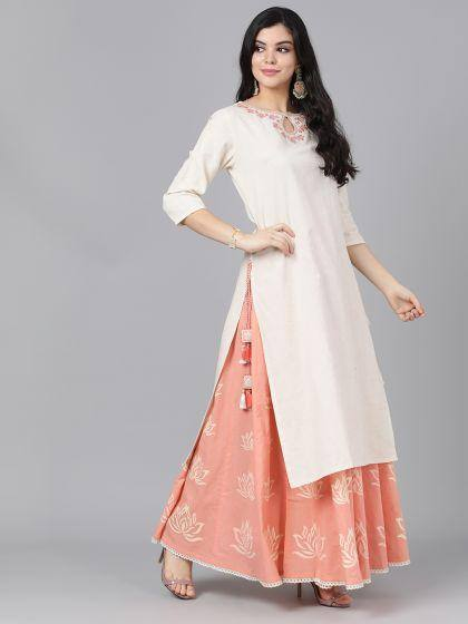 Off White Embroidered Kurta With Skirt
