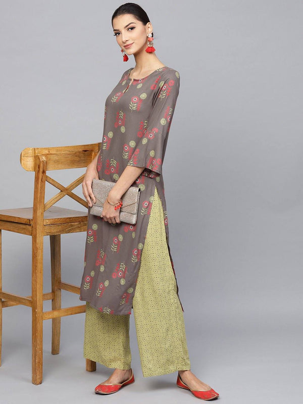 Readymade Dark Grey Printed Kurta, Palazzo Set