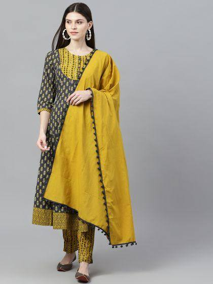 Grey & Mustard Printed Anarkali & Pant With Solid Dupatta