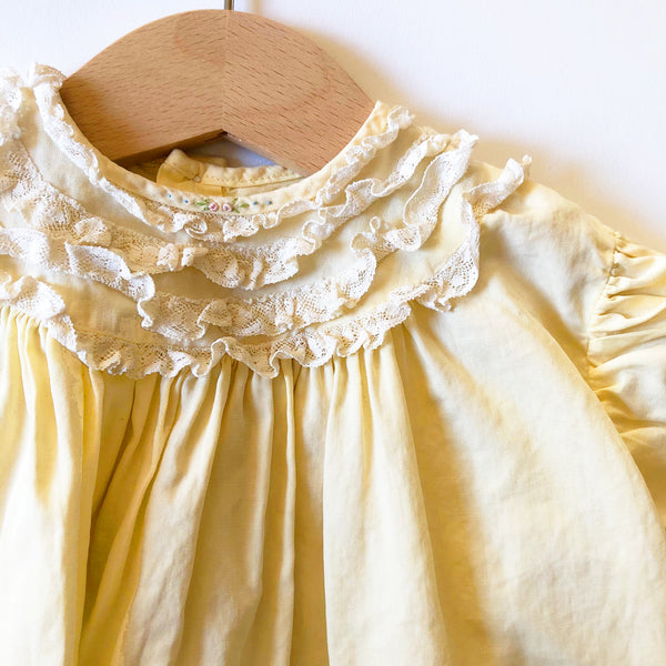 Sweet Vintage Baby Dress with Ruffle Lace size 6-12 months