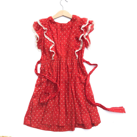 Stunning Little 40's Red Dress with Ruffles size 4-5