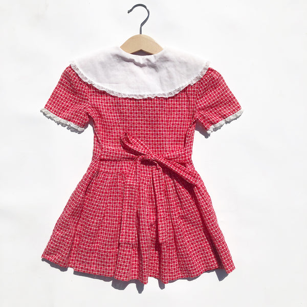 Red and White 40's Dress in pique dot fabric size 2-3