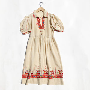 Stunning Hungarian Embroidered Silk Dress size 10-11