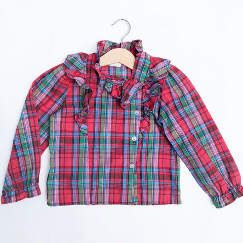 Perfect Vintage Plaid Ruffle blouse size 4-5