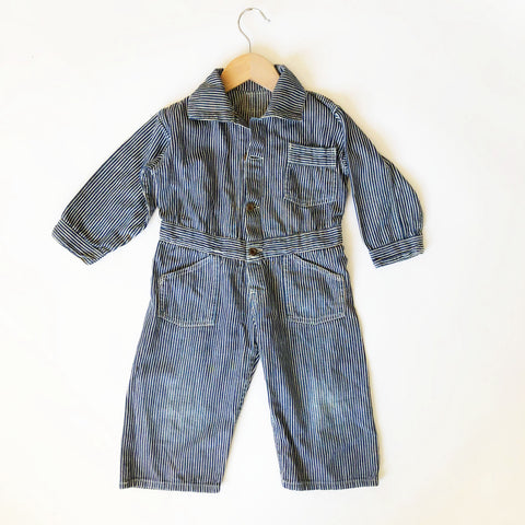 Vintage Hickory Stripe Duck Coveralls size 2-3