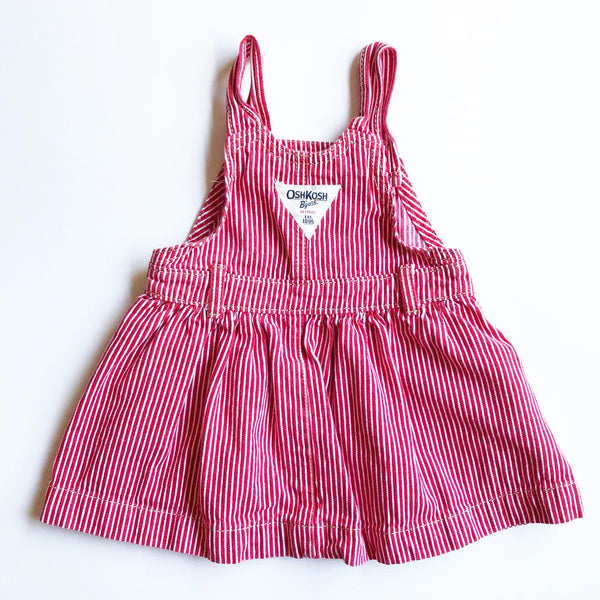 Osh Kosh Little Red and White Pinafore size 12-18 months