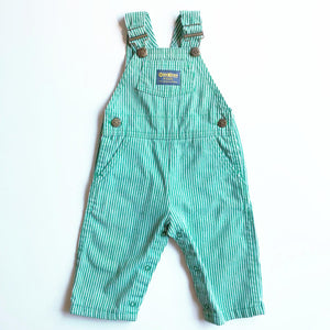 Osh Kosh Green and White Stripe Overalls size 18-24 months