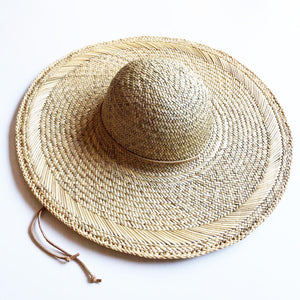 Girls wide brim straw hat