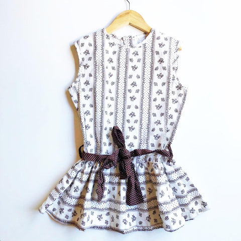 Calico Print Dress with Polka Dot Trim size 3-4