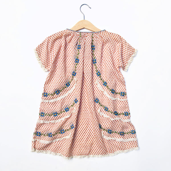 Stunning 30's Embroidered Peasant Dress size 2-4