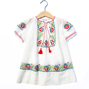 Stunning 30's Embroidered Peasant Dress size 18months -3yrs