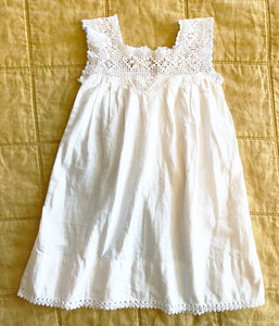 Pretty Victorian Crochet Dress with Contrast Trim Size 12-18 months