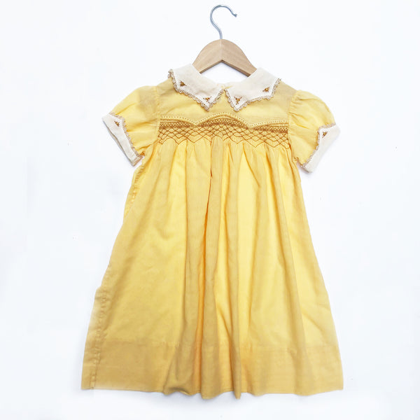 Beautiful 30's Smocked Dress With Embroidery Size 4-5