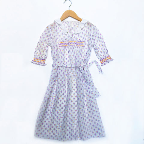 Pretty 30's Floral Smocked Vintage Dress Size 4-5