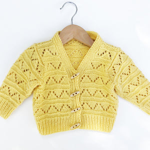 Hand knit Baby Yellow Cardigan 12-24 months