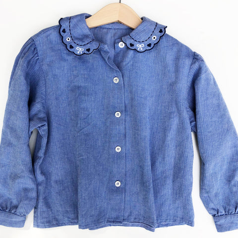 Embroidered Collar Chambray Shirt size 5-6
