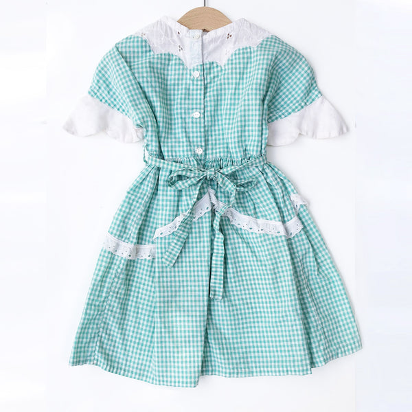 Little Gingham Dress with Cutwork Trim size 3-4